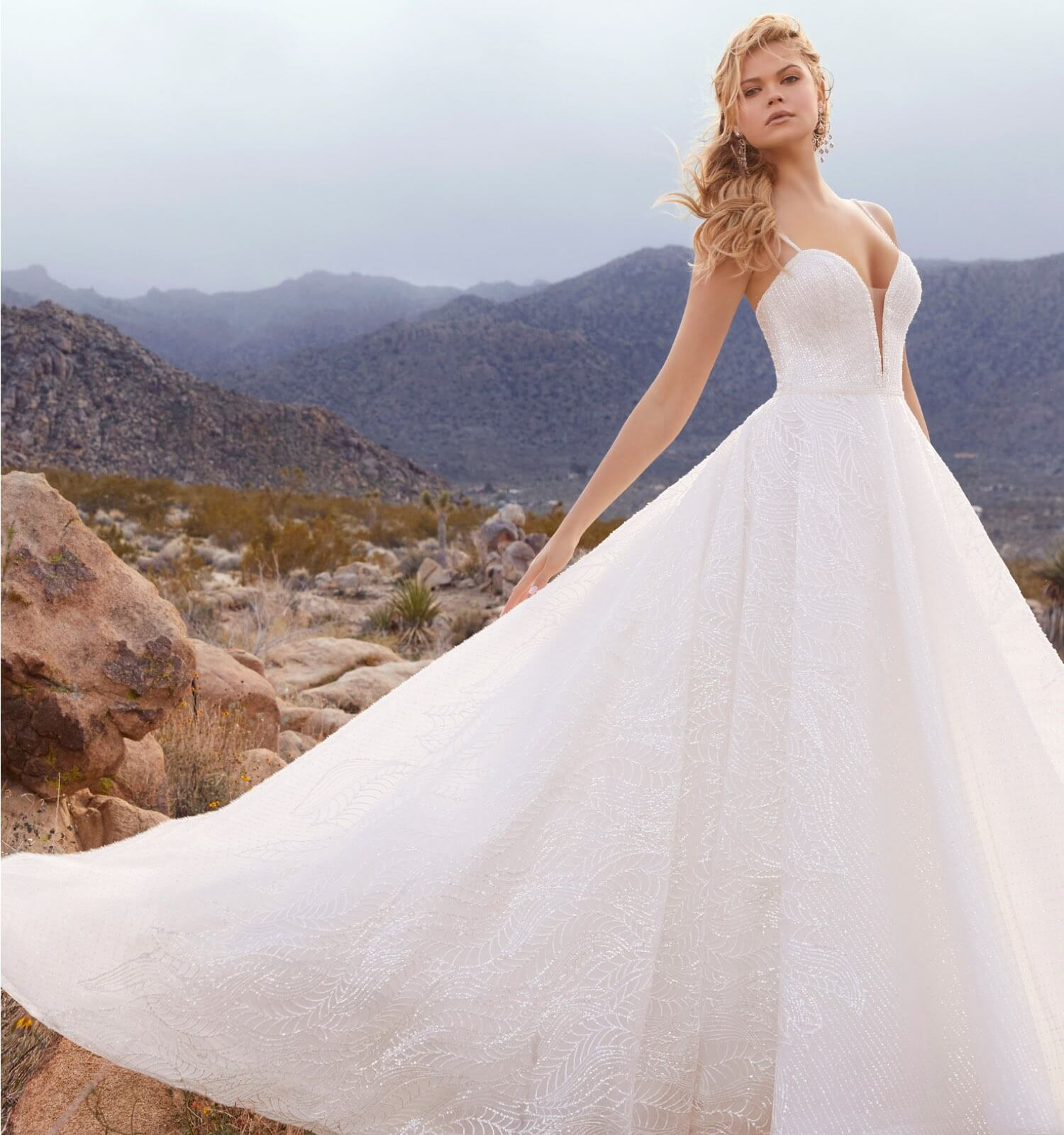 Model wearing ball gown wedding dress in desert background shown on mobile device
